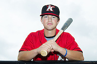 Tyler Shryock (2) of the Kannapolis Intimidators poses for a photo prior to the game against the Charleston RiverDogs at CMC-NorthEast Stadium on June 28, 2014 in Kannapolis, North Carolina.  The Intimidators defeated the RiverDogs 4-3. (Brian Westerholt/Four Seam Images)