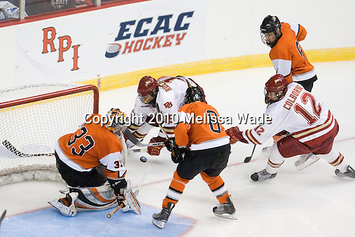 Jared DeMichiel (RIT - 33), Tyler Ruegsegger (Denver - 15), Chris Tanev (RIT - 8), Dan Ringwald (RIT - 6), Joe Colborne (Denver - 12) - The Rochester Institute of Technology (RIT) Tigers defeated the Denver University Pioneers 2-1 on Friday, March 26, 2010, in their NCAA East Regional semi-final at the Times Union Center in Albany, New York.