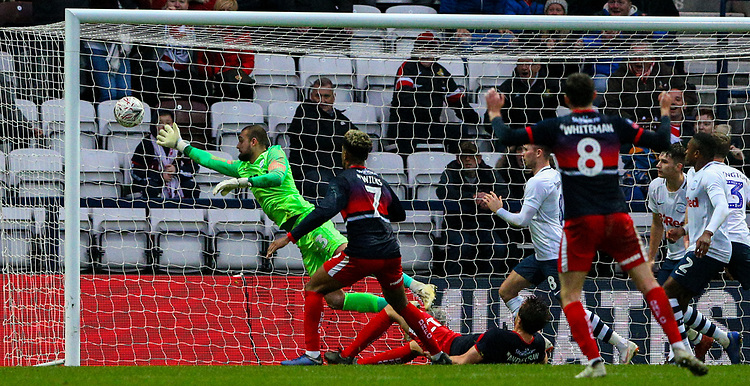 Preston North End's Michael Crowe can't stop the shot from Doncaster Rovers' Tom Anderson <br /> <br /> Photographer Alex Dodd/CameraSport<br /> <br /> The Emirates FA Cup Third Round - Preston North End v Doncaster Rovers - Sunday 6th January 2019 - Deepdale Stadium - Preston<br />  <br /> World Copyright © 2019 CameraSport. All rights reserved. 43 Linden Ave. Countesthorpe. Leicester. England. LE8 5PG - Tel: +44 (0) 116 277 4147 - admin@camerasport.com - www.camerasport.com