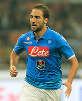 Gonzalo Higuain  during the Italian serie A   soccer match between SSC Napoli and Inter    at  the San Siro    stadium in Milan  Italy , Octoberr 19 , 2014