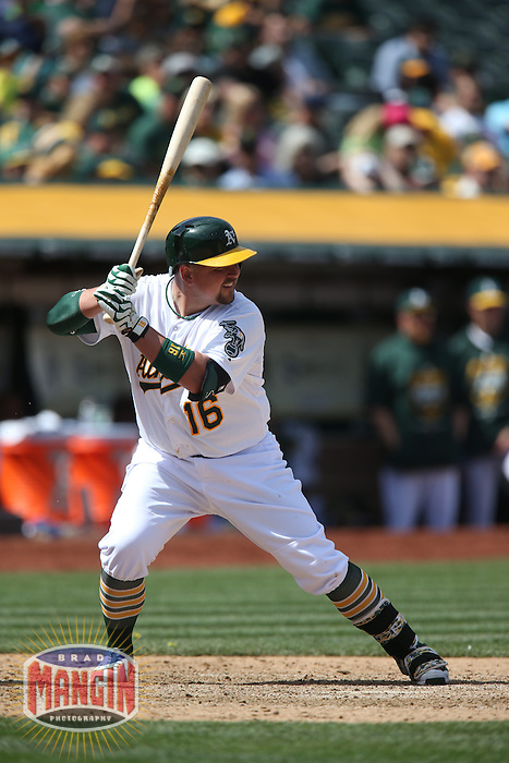 OAKLAND, CA - APRIL 9:  Billy Butler #16 of the Oakland Athletics bats against the Texas Rangers during the game at O.co Coliseum on Thursday, April 9, 2015 in Oakland, California. Photo by Brad Mangin