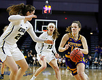 SIOUX FALLS, SD - MARCH 8: Olivia Kaufmann #13 of the Western Illinois Leathernecks drives to the basket against Regan Schumacher #20 of the Oral Roberts Golden Eagles at the 2020 Summit League Basketball Championship in Sioux Falls, SD. (Photo by Richard Carlson/Inertia)