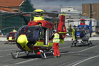 Disaster exercise in Oslo, with a scenario of a chemical tanker colliding with a bus. Ambulance helicopter and police helicopter