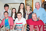 Declan Doody,Ballybeggan,Tralee(seated centre)celebrated his 21st birthday in Bella Bia,Tralee last Saturday night,seated L-R Eoin,Declan&Bill Doody(back)L-R Margaret,Michelle&Mary Doody with Betty&Con Daly.