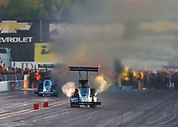 Sep 1, 2019; Clermont, IN, USA; NHRA top fuel driver Mike Salinas during qualifying for the US Nationals at Lucas Oil Raceway. Mandatory Credit: Mark J. Rebilas-USA TODAY Sports