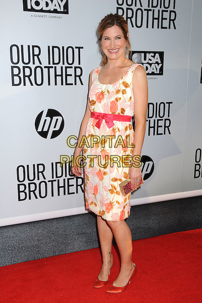 "Kathryn Hahn .""Our Idiot Brother"" Los Angeles Premiere held at Arclight Cinemas, Hollywood, California, USA..August 16th, 2011.half length white pink floral print dress sleeveless ribbon waist clutch bag.CAP/ADM/BP.©Byron Purvis/AdMedia/Capital Pictures."