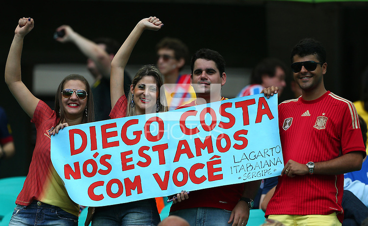 Spain fans hold up a banner in support of Diego Costa