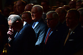 United States Senator Chuck Schumer bows his head with other mourners who surround the casket of former Senator John McCain in the Capitol Rotunda where he will lie in state at the U.S. Capitol, in Washington, DC on Friday, August 31, 2018. McCain, an Arizona Republican, presidential candidate and war hero died August 25th at the age of 81. He is the 31st person to lie in state at the Capitol in 166 years.    Photo by Kevin Dietsch/UPI