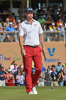 Trey Mullinax (USA) after sinking his par putt on 18 during Round 4 of the Valero Texas Open, AT&amp;T Oaks Course, TPC San Antonio, San Antonio, Texas, USA. 4/22/2018.<br /> Picture: Golffile | Ken Murray<br /> <br /> <br /> All photo usage must carry mandatory copyright credit (&copy; Golffile | Ken Murray)