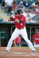 Oklahoma City RedHawks third baseman Matt Duffy (4) waiting for a pitch during the Pacific League game against the Colorado Springs Sky Sox at the Chickasaw Bricktown Ballpark on August 3, 2014 in Oklahoma City, Oklahoma.  The RedHawks defeated the Sky Sox 8-1.  (William Purnell/Four Seam Images)