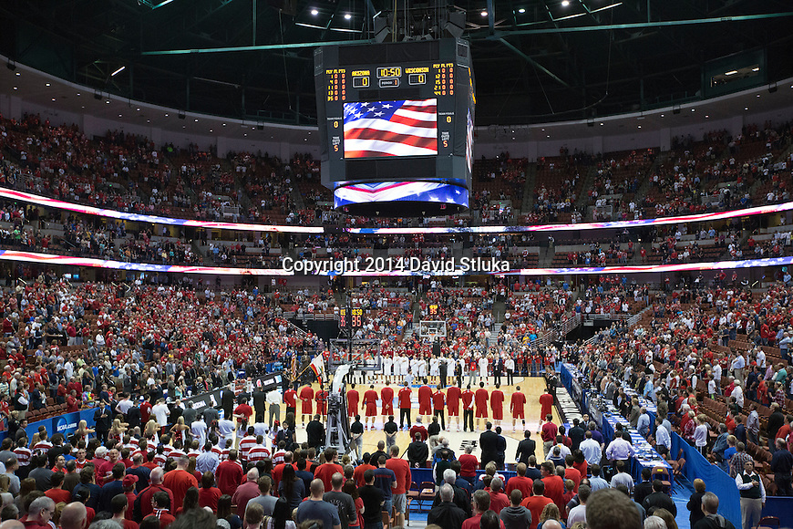 A general view of the Honda Center prior to the Wisconsin Badgers Western Regional NCAA college basketball tournament game against the Arizona Wildcats Saturday, March 29, 2014 in Anaheim, California. The Badgers won 64-63 (OT). (Photo by David Stluka)
