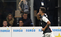 Calcio, Serie A: Inter Milano - Juventus, Giuseppe Meazza stadium, October 6 2019.<br /> Juventus' Paulo Dybala celebrates after scoring during the Italian Serie A football match between Inter and Juventus at Giuseppe Meazza (San Siro) stadium, October 6, 2019.<br /> UPDATE IMAGES PRESS/Isabella Bonotto