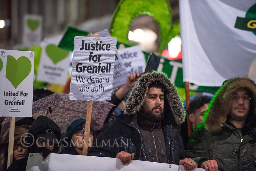 Monthly silent walk to remember the victims of the Grenfell Tower fire. London. 14-2-18