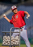 28 April 2017: Washington Nationals Bullpen Coach Dan Firova tosses batting practice prior to a game against the New York Mets at Nationals Park in Washington, DC. The Mets defeated the Nationals 7-5 to take the first game of their 3-game weekend series. Mandatory Credit: Ed Wolfstein Photo *** RAW (NEF) Image File Available ***
