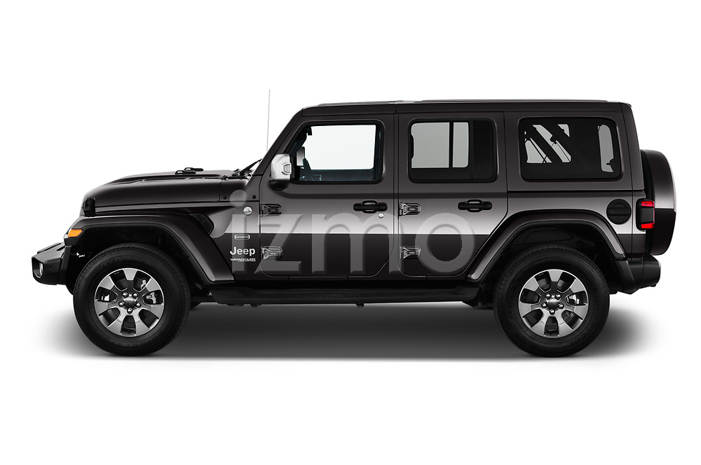 Car driver side profile view of a 2019 Jeep Wrangler Unlimited Sahara 5 Door SUV