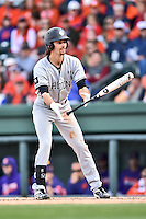 South Carolina Gamecocks right fielder Gene Cone (19) tosses his bat after being walked during a game against the Clemson Tigers at Fluor Field on March 5, 2016 in Greenville, South Carolina. The Tigers defeated the Gamecocks 5-0. (Tony Farlow/Four Seam Images)