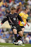 MetroStars' goalkeeper Zach Wells clears a ball. The MetroStars defeated the Chicago Fire 2-0 during an exhibition game on Monday October 11, 2004 at At-A-Glance Field at the National Soccer Hall of Fame and Museum, Oneonta, NY..