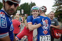Arnaud D&eacute;mare (FRA/FDJ.fr) congratulated by teammates after winning the first stage<br /> <br /> stage 1<br /> Euro Metropole Tour 2014 (former Franco-Belge)