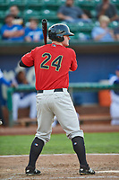 Alex Destino (24) of the Great Falls Voyagers bats against the Ogden Raptors at Lindquist Field on August 22, 2018 in Ogden, Utah. Great Falls defeated Ogden 3-1. (Stephen Smith/Four Seam Images)