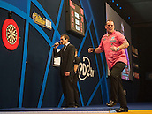 21.12.2014.  London, England.  William Hill World Darts Championship.  Dean Winstanley (26) [ENG] celebrates during his game with Wayne Jones [ENG].