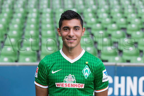 29.07.2013. Bremen, Germany.  The picture shows German Soccer Bundesliga club SV Werder Bremen's Oezkan Yildirim during the official photocall for the season 2013-14 in Bremen.