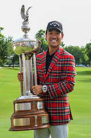 Kevin Na (USA) and the trophy for winning the 2019 Charles Schwab Challenge, Colonial Country Club, Ft. Worth, Texas,  USA. 5/26/2019.<br /> Picture: Golffile | Ken Murray<br /> <br /> All photo usage must carry mandatory copyright credit (© Golffile | Ken Murray)