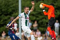 HAREN - Voetbal, FC Groningen - SM Caen, voorbereiding seizoen 2018-2019, 04-08-2018, FC Groningen speler Mike te Wierik met Brice Sanba