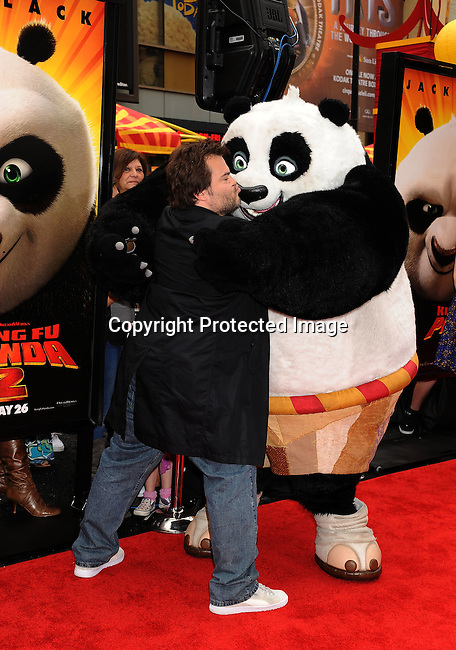 "HOLLYWOOD, {CA} -MAY 22: Jack Black  arrives at the Los Angeles premiere of ""Kung Fu Panda 2"" held at Grauman's Chinese Theatre on May 22, 2011 in Hollywood, California."