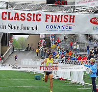 Jeff Jonaitis is the first man to finish the 8K race at the Crazylegs Classic on Saturday, 4/24/10, in Madison, Wisconsin