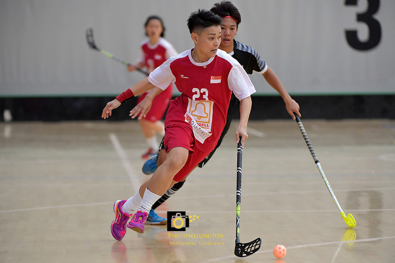 Singapore's Karen Loo in action during the World Floorball Championships 2017 Qualification for Asia Oceania Region - Singapore v Thailand at ASB Sports Centre , Wellington, New Zealand on Sunday 5 February 2017.<br /> Photo by Masanori Udagawa<br /> www.photowellington.photoshelter.com.