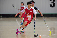 Singapore&rsquo;s Karen Loo in action during the World Floorball Championships 2017 Qualification for Asia Oceania Region - Singapore v Thailand at ASB Sports Centre , Wellington, New Zealand on Sunday 5 February 2017.<br /> Photo by Masanori Udagawa<br /> www.photowellington.photoshelter.com.