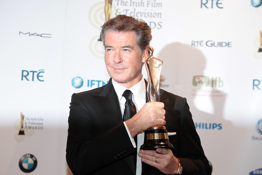 12/2/11 Pierce Brosnan, Best Actor in a supporting role for The Ghost, at the 8th Irish Film and Television Awards at the Convention centre in Dublin. Picture:Arthur Carron/Collins