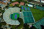 Aerial views of Flushing Meadows Park, Bill Jean Training Facility, US Tennis Association