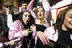 © Joel Goodman - 07973 332324 . 26/12/2016 . Wigan , UK . Grease the musical themed outfits . Revellers in Wigan enjoy Boxing Day drinks and clubbing in Wigan Wallgate . In recent years a tradition has been established in which people go out wearing fancy-dress costumes on Boxing Day night . Photo credit : Joel Goodman