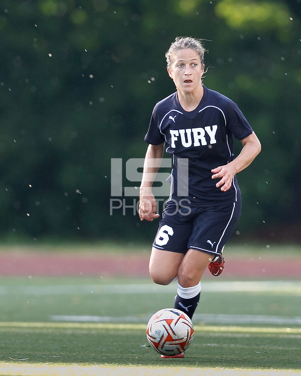 New York Fury defender Kim Yokers (6) looks to pass. In a Women's Premier Soccer League Elite (WPSL) match, the Boston Breakers defeated New York Fury, 2-0, at Dilboy Stadium on June 23, 2012.