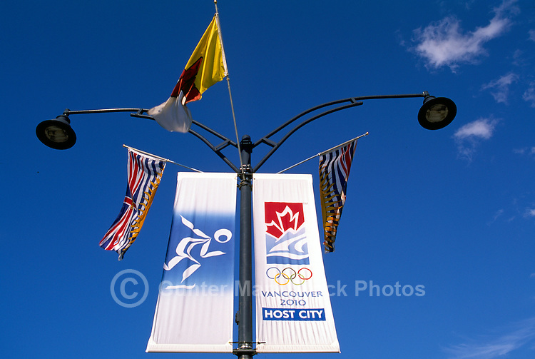 Street Banners announcing 2010 Winter Olympics, Olympic Games in Vancouver and Whistler, BC, British Columbia, Canada - Editorial Use Only