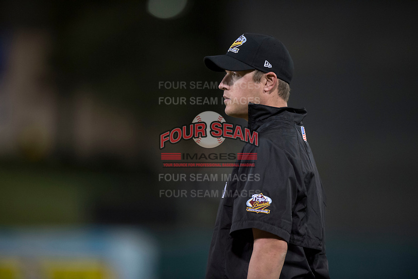 First base umpire Clay Park during a Pacific Coast League game between the Fresno Grizzlies and the Salt Lake Bees at Chukchansi Park on May 14, 2018 in Fresno, California. Fresno defeated Salt Lake 4-3. (Zachary Lucy/Four Seam Images)