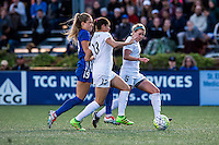 Allston, MA - Sunday, May 22, 2016: Boston Breakers midfielder Kristie Mewis (19), FC Kansas City defender Brittany Taylor (13) and FC Kansas City defender Alex Arlitt (5) during a regular season National Women's Soccer League (NWSL) match at Jordan Field.