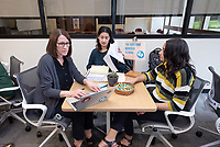 Prof. Julie Prebel, Reilly Torres '19 and Wafa Abedin '21.<br /> Photos taken of the Writing Center on Feb. 15, 2019 on the Ground Floor of the Academic Commons. The Writing Center offers students from all disciplines two types of support to work on their writing: peer-to-peer, drop-in consultations with knowledgeable Writing Advisers and appointments with Faculty Writing Specialists from the Writing and Rhetoric department.<br /> (Photo by Marc Campos, Occidental College Photographer)