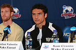 13 December 2007: Wake Forest's Julian Valentin with Pat Phelan (l). The Wake Forest University Demon Deacons held a press conference at SAS Stadium in Cary, North Carolina one day before playing in a NCAA Division I Mens College Cup semifinal game.