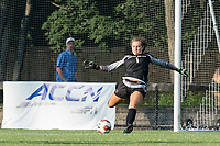 NEWTON, MA - AUGUST 29: Allie Augur #1 of Boston College goal kick during a game between Boston University and Boston College at Newton Campus Field on August 29, 2019 in Newton, Massachusetts.