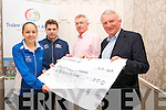 Presentation of a cheque for ?1,000 from Tralee Chamber Alliance to Tralee International Marathon on Tuesday. The money will be used for the marathon's website. Pictured, left to right: Vivienne Li (registrar of  entries), Marcus Howlett (race  director), Kieran Ruttledge, (Tralee  Chamber Alliance) and Martin Fitzgerald (Chairperson Tralee Harriers).