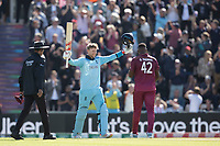 Joe Root (England) celebrates his century during England vs West Indies, ICC World Cup Cricket at the Hampshire Bowl on 14th June 2019