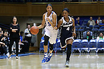 15 November 2016: Duke's Leaonna Odom (5) and Longwood's Jada Russell (4). The Duke University Blue Devils hosted the Longwood University Lancers at Cameron Indoor Stadium in Durham, North Carolina in a 2016-17 NCAA Division I Women's Basketball game. Duke won the game 105-48.
