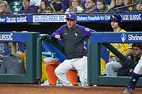 LSU Tigers head coach Paul Mainieri watches from the dugout during the game against the Oklahoma Sooners in game seven of the 2020 Shriners Hospitals for Children College Classic at Minute Maid Park on March 1, 2020 in Houston, Texas. The Sooners defeated the Tigers 1-0. (Brian Westerholt/Four Seam Images)
