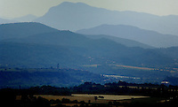 Countryside and distant views of the Pyrennes mountains. Ainsa,Huesca, Aragon, Spain.