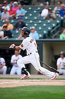 Rochester Red Wings right fielder Eddie Rosario (1) at bat during a game against the Indianapolis Indians on May 26, 2016 at Frontier Field in Rochester, New York.  Indianapolis defeated Rochester 5-2.  (Mike Janes/Four Seam Images)