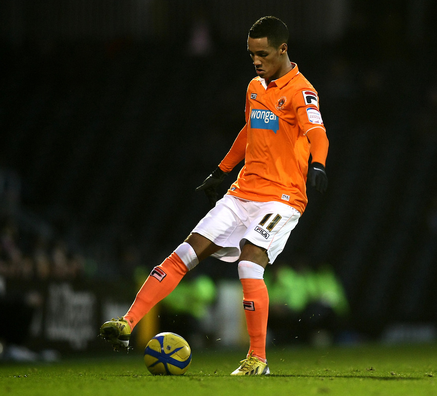 Blackpool's Thomas Ince in action during todays match  ..Football - FA Challenge Cup Third Round - Fulham v Blackpool - Saturday 5th January 2013 - Craven Cottage - London..