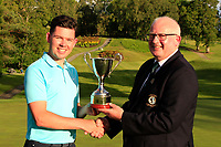 Michael Heeney (Chairman Connacht Golf) presents the cup to Peter McKeever (Castle) winner of the Connacht Stroke Play Championship 2019 at Portumna Golf Club, Portumna, Co. Galway, Ireland. 09/06/19<br /> <br /> Picture: Thos Caffrey / Golffile<br /> <br /> All photos usage must carry mandatory copyright credit (© Golffile | Thos Caffrey)