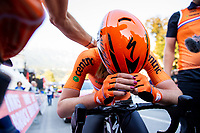 Picture by Alex Whitehead/SWpix.com - 29/09/2018 - Cycling - UCI 2018 Road World Championships - Innsbruck-Tirol, Austria - Elite Women's Road Race - Anna van der Breggen of the Netherlands celebrates winning Gold.